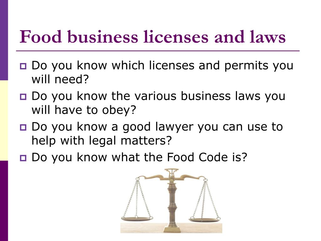 Food business licenses and laws