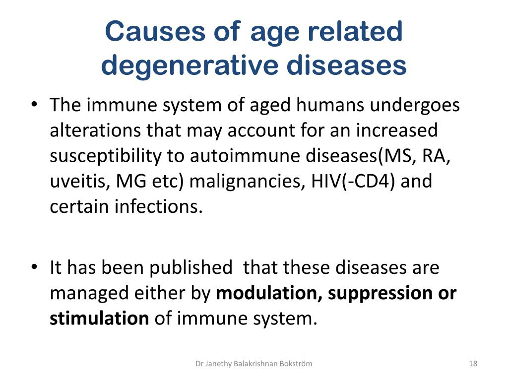 Causes of age related degenerative diseases