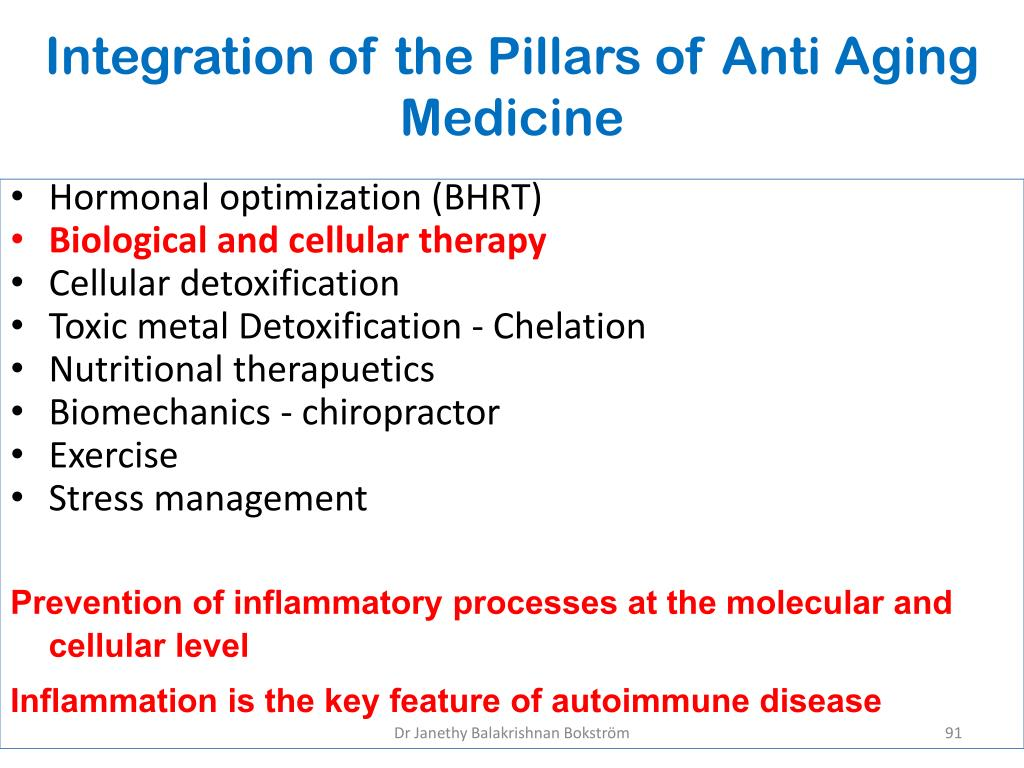 Integration of the Pillars of Anti Aging Medicine