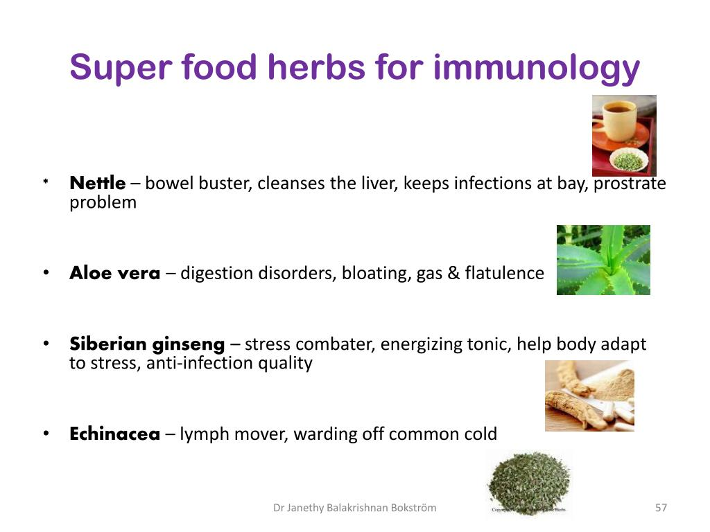 Super food herbs for immunology