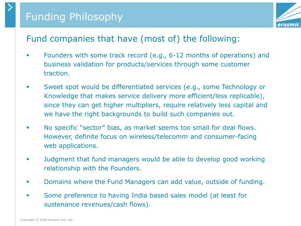 Funding Philosophy