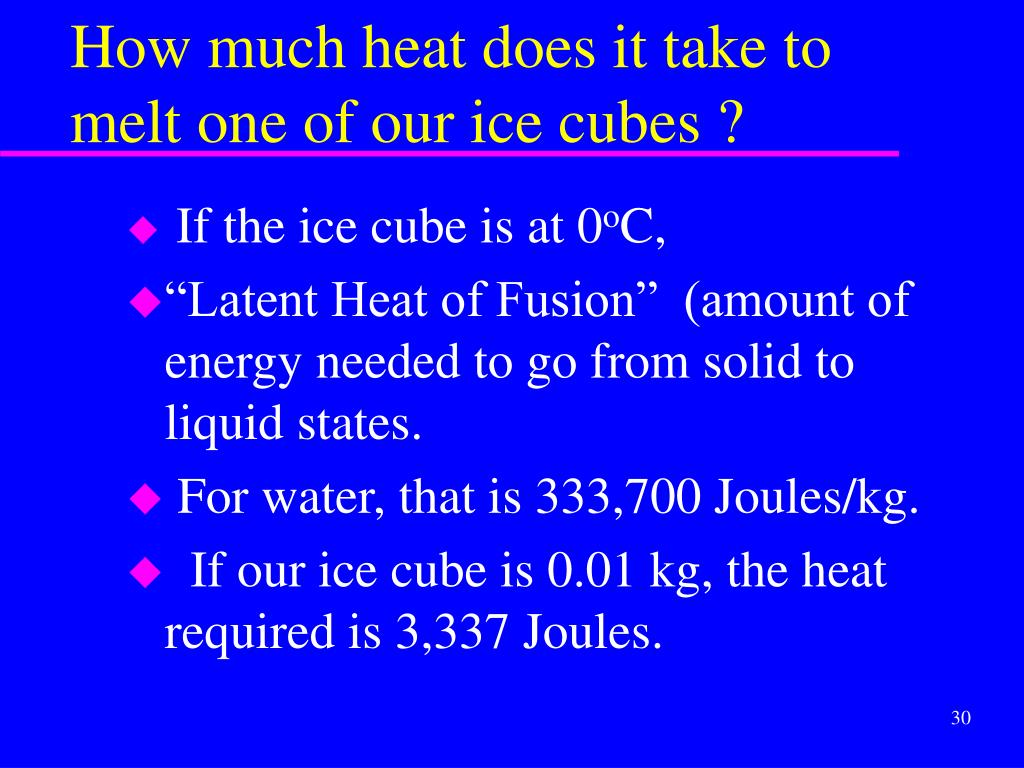 How much heat does it take to melt one of our ice cubes ?