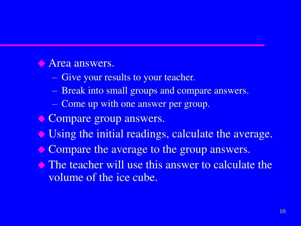 Area answers.