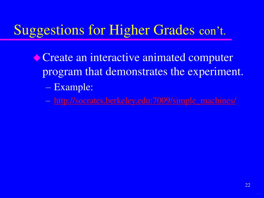 Suggestions for Higher Grades