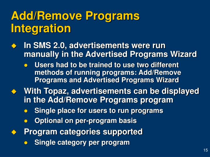 Add/Remove Programs Integration