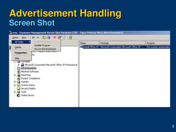 Advertisement Handling