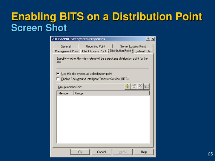 Enabling BITS on a Distribution Point