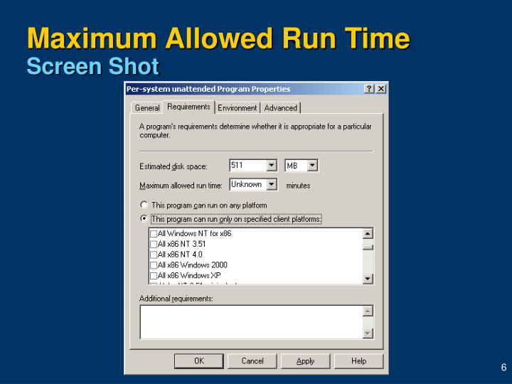 Maximum Allowed Run Time