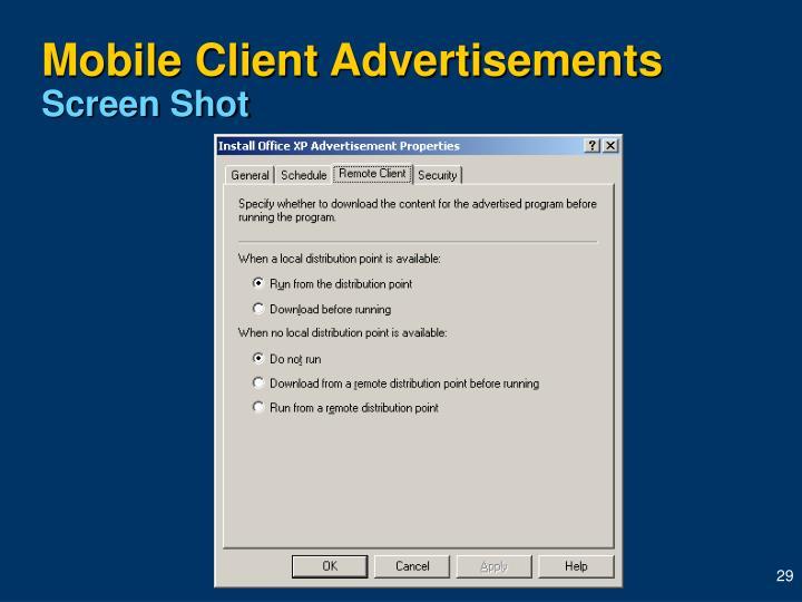 Mobile Client Advertisements