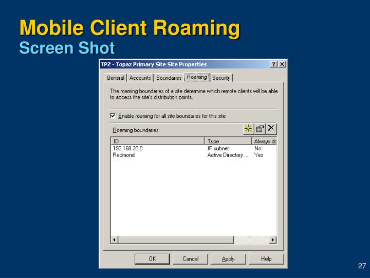 Mobile Client Roaming