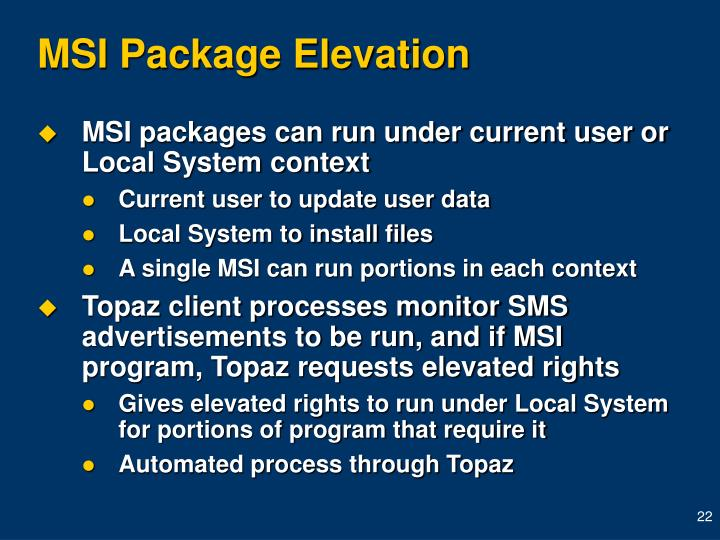 MSI Package Elevation