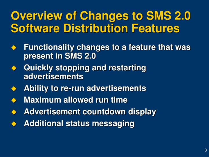 Overview of Changes to SMS 2.0 Software Distribution Features