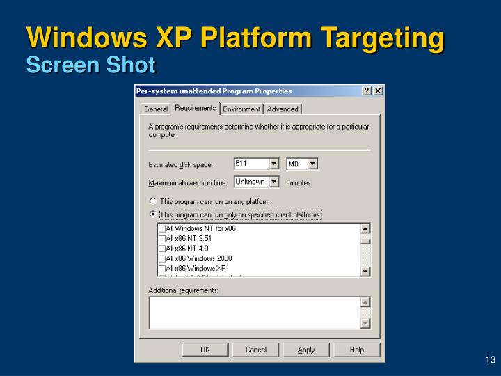 Windows XP Platform Targeting