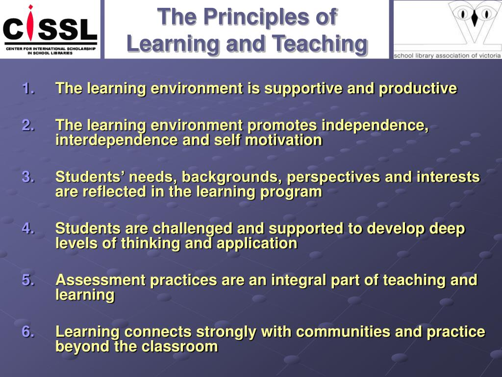 an analysis of principles that can promote a good learning environment Teaching principles  being explicit leads to a more productive learning environment for all  using quizzes and item analysis to inform teaching and learning.
