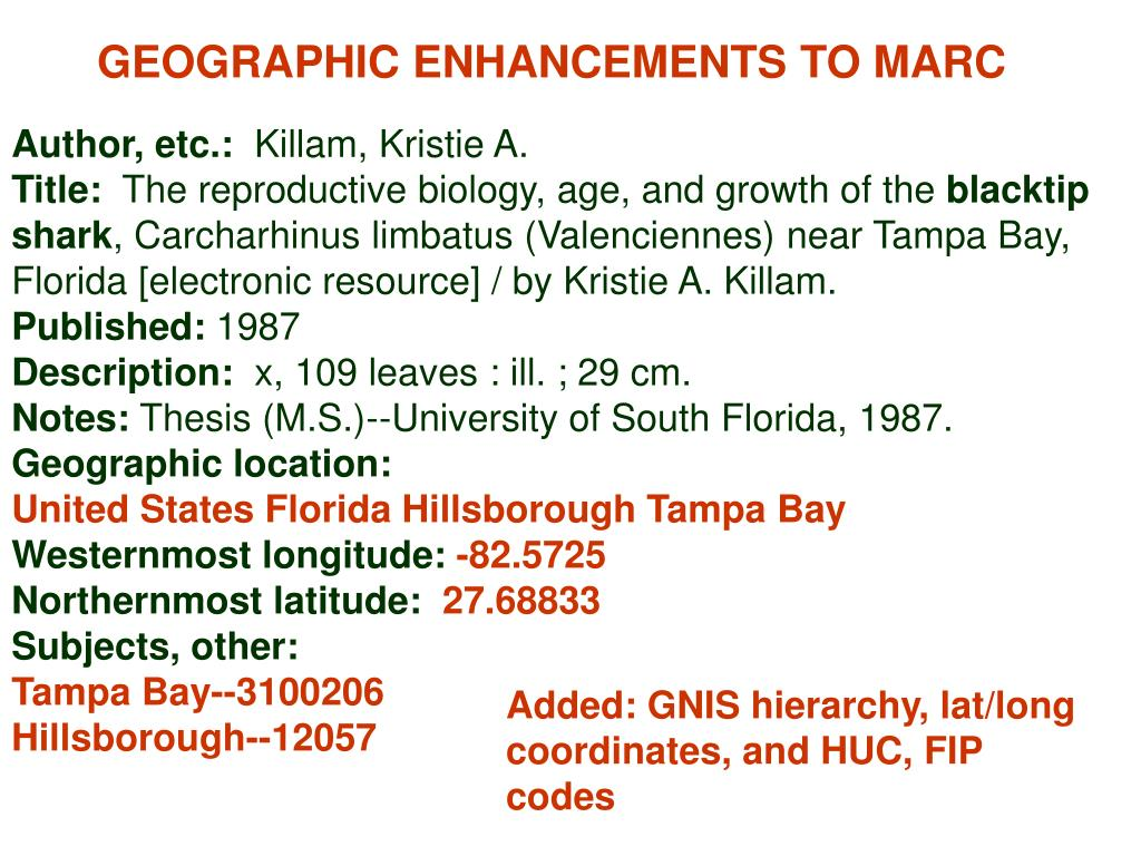 GEOGRAPHIC ENHANCEMENTS TO MARC