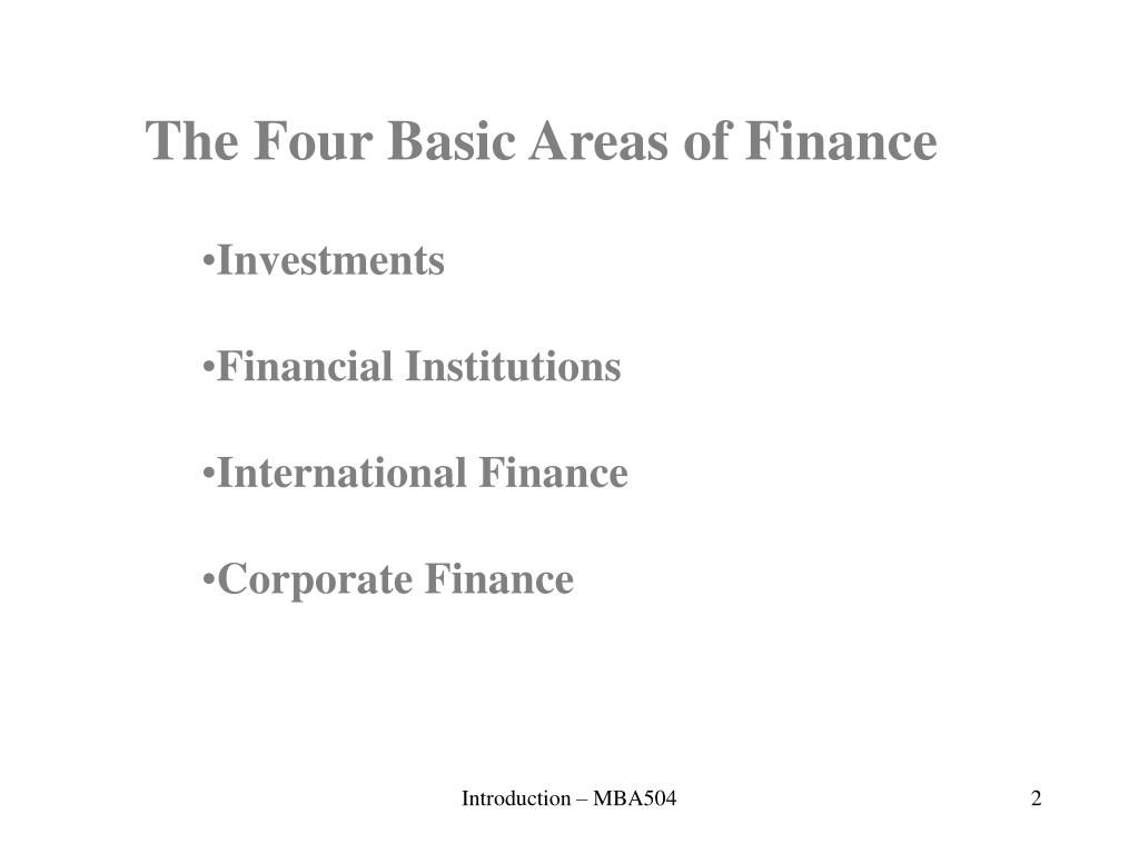 The Four Basic Areas of Finance