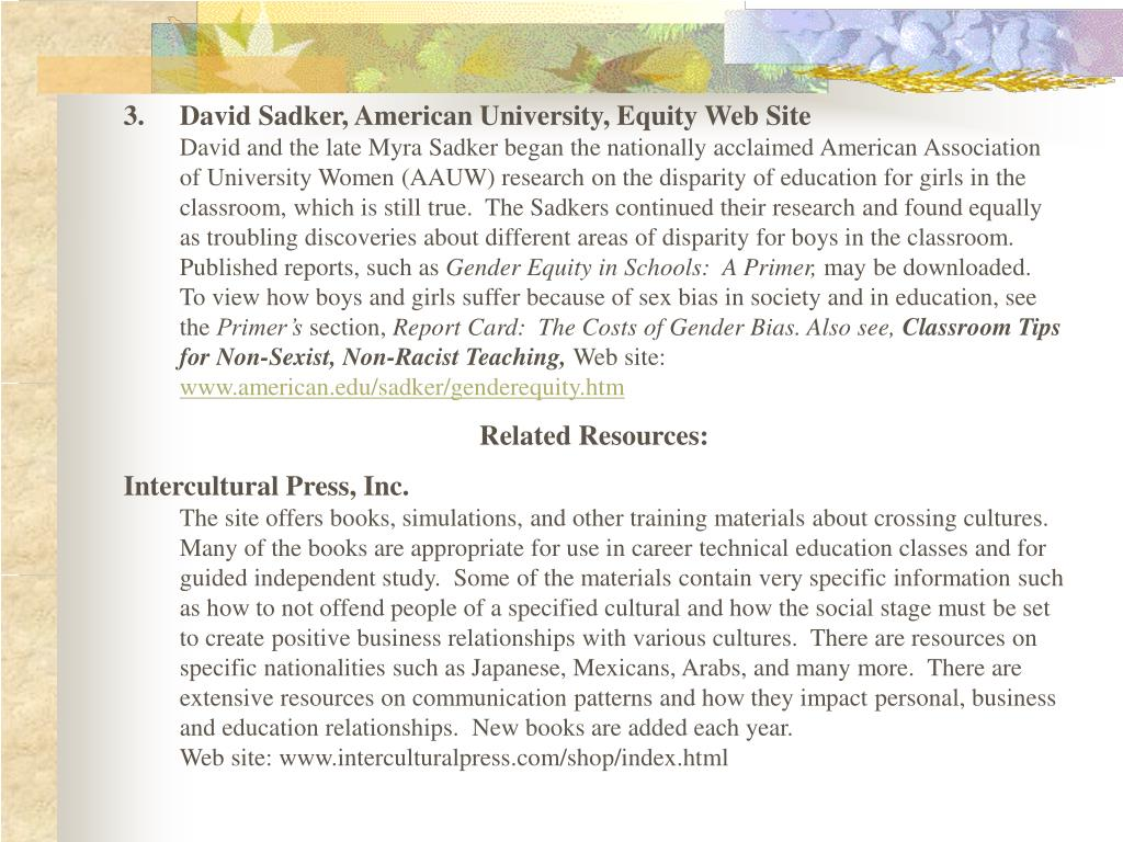 3.David Sadker, American University, Equity Web Site