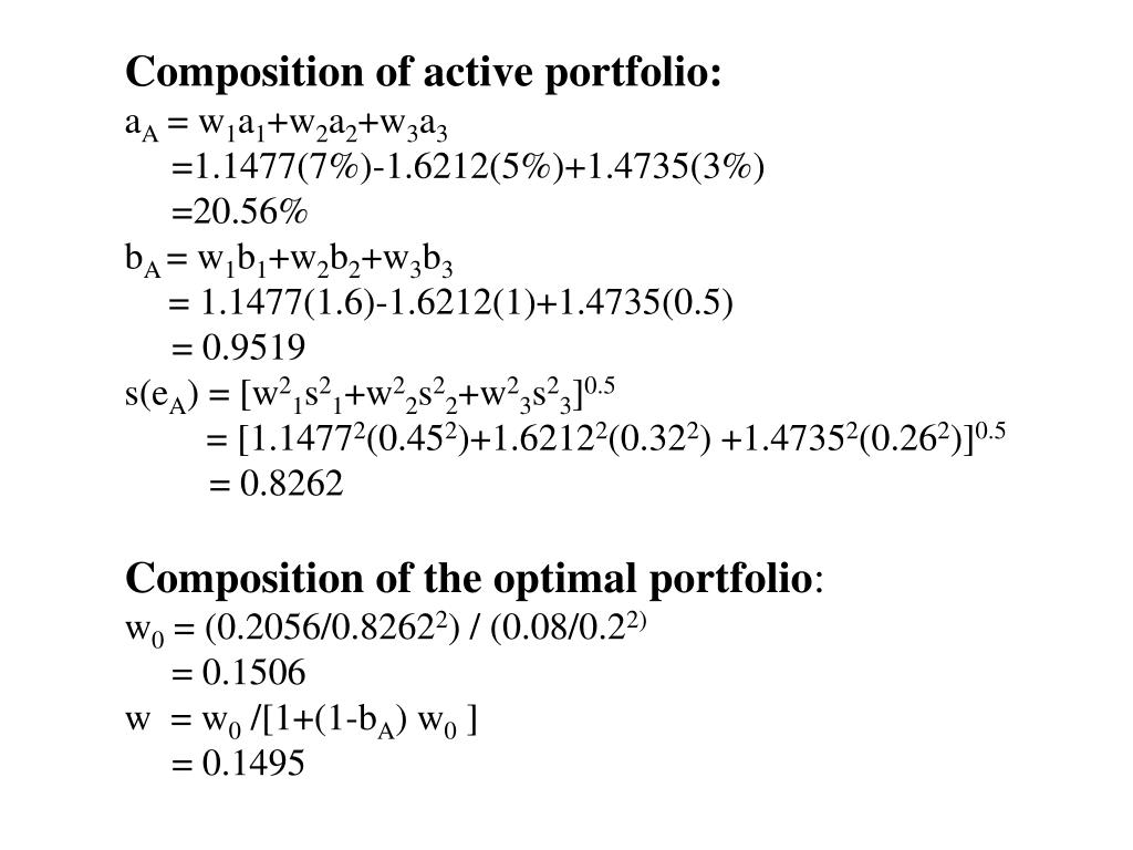 Composition of active portfolio: