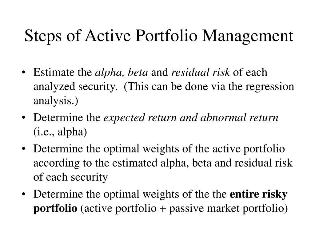 Steps of Active Portfolio Management