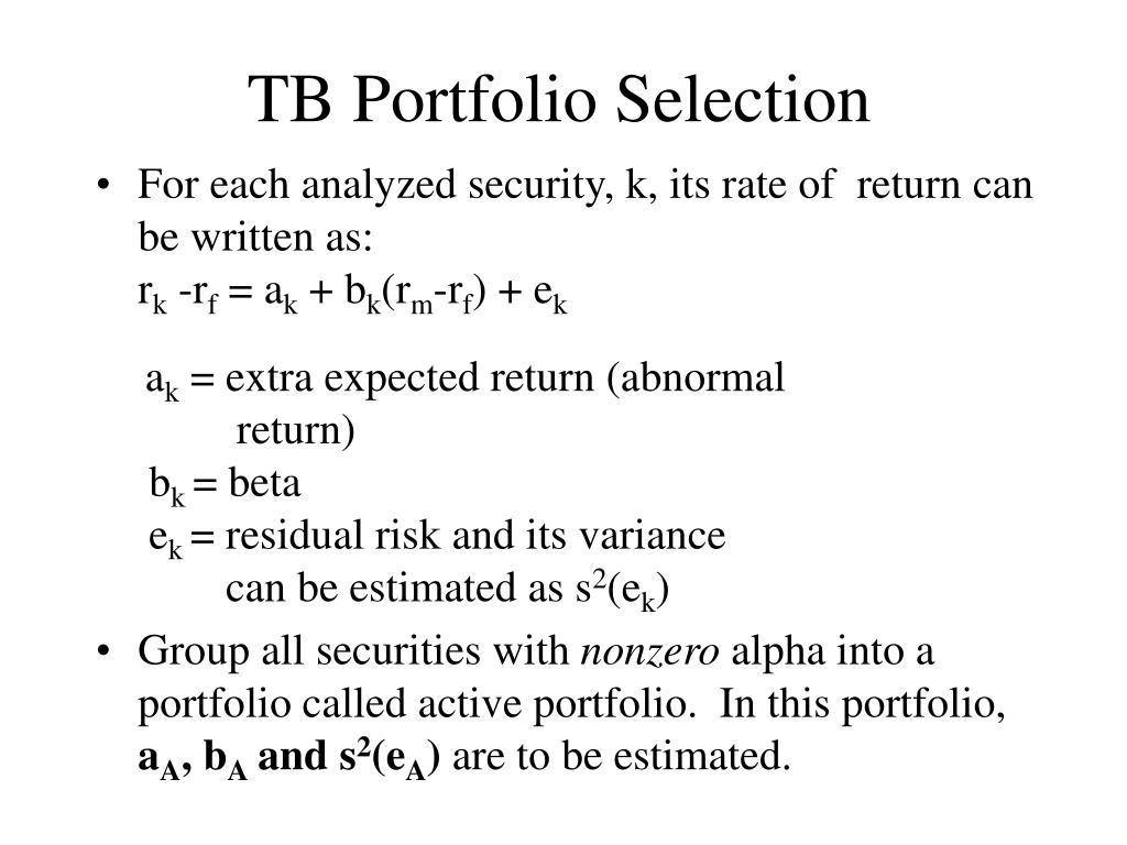 TB Portfolio Selection