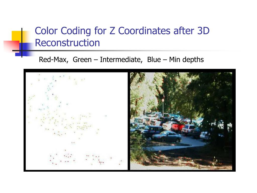 Color Coding for Z Coordinates after 3D Reconstruction
