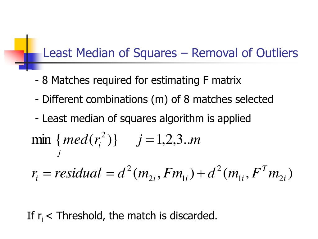 Least Median of Squares – Removal of Outliers
