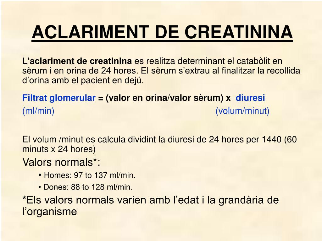 ACLARIMENT DE CREATININA