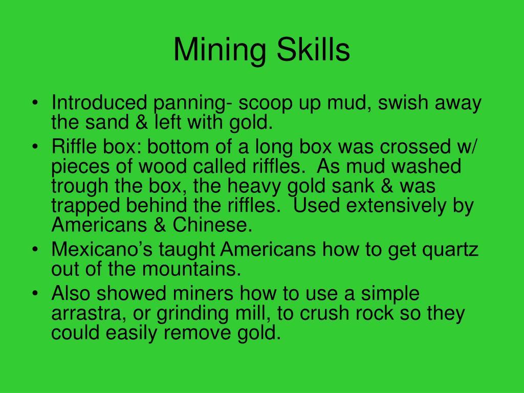 Mining Skills