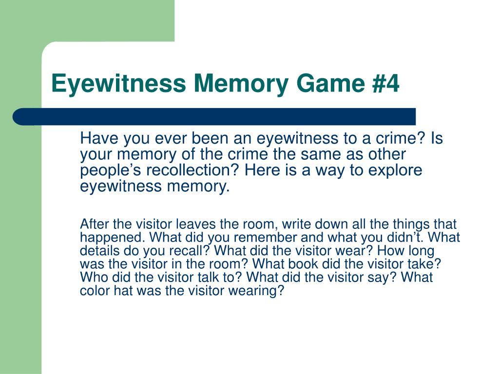 Eyewitness Memory Game #4