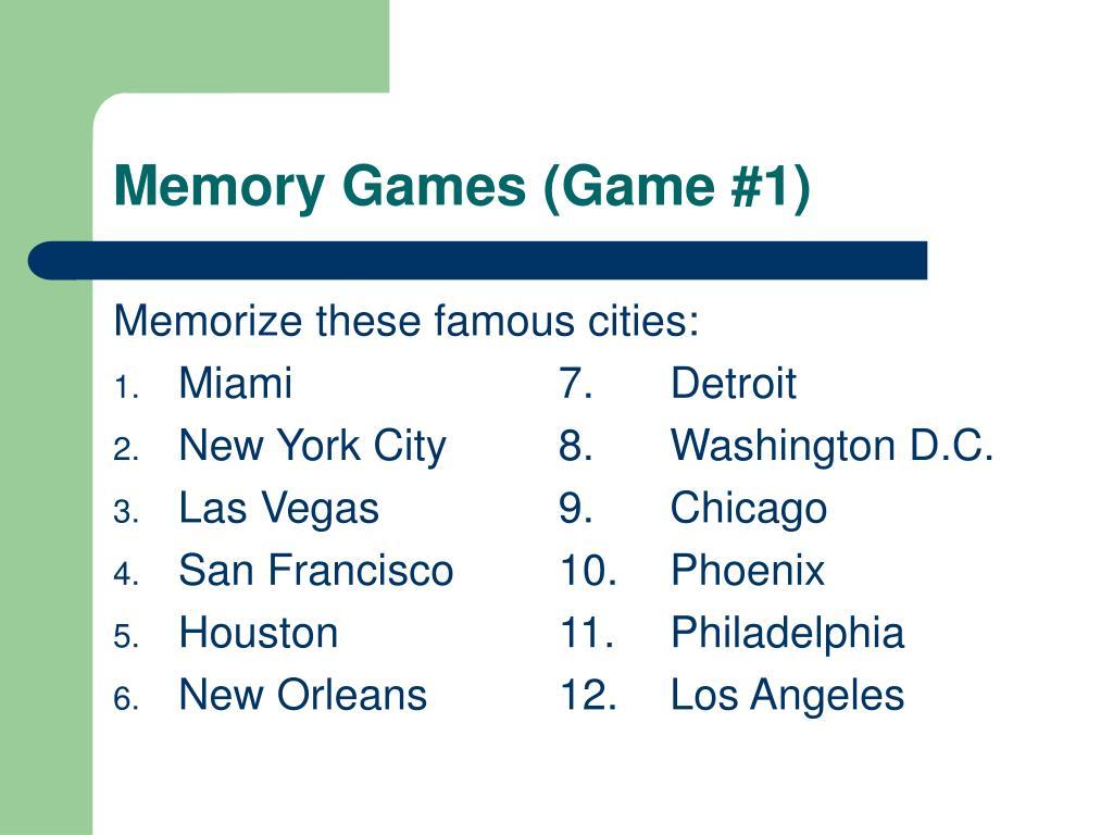 Memory Games (Game #1)