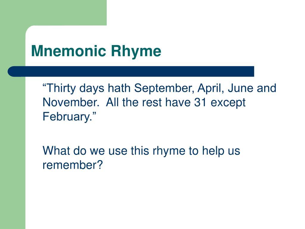 Mnemonic Rhyme