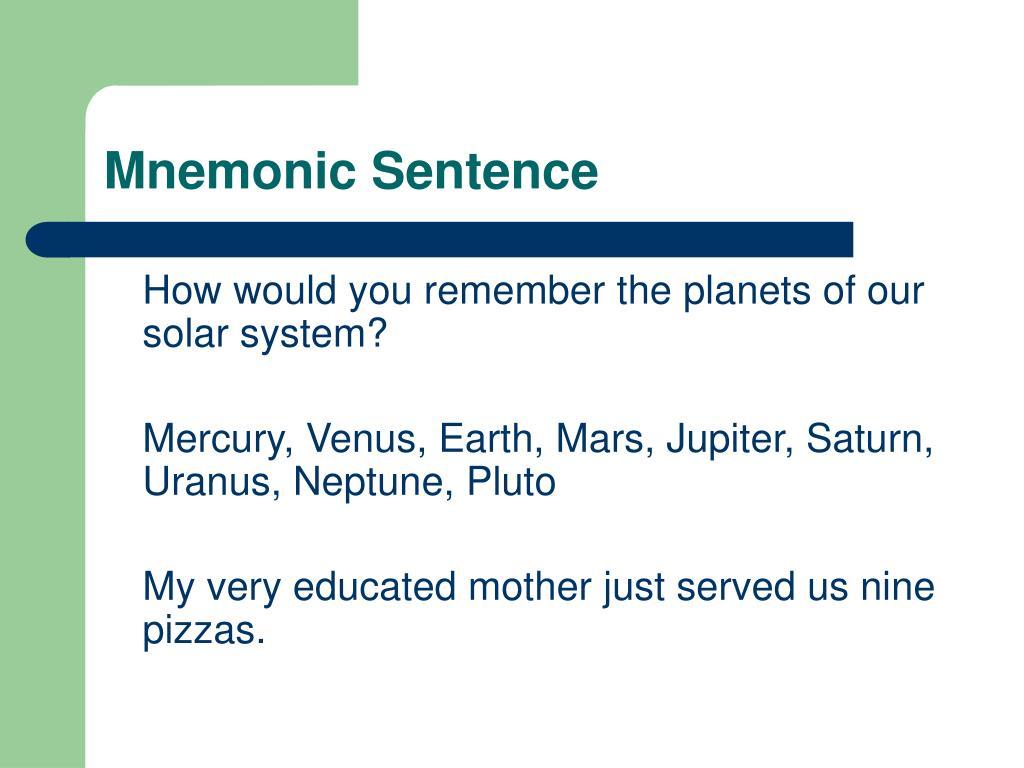 Mnemonic Sentence