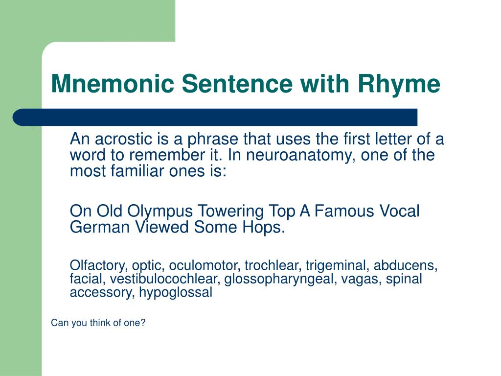 Mnemonic Sentence with Rhyme