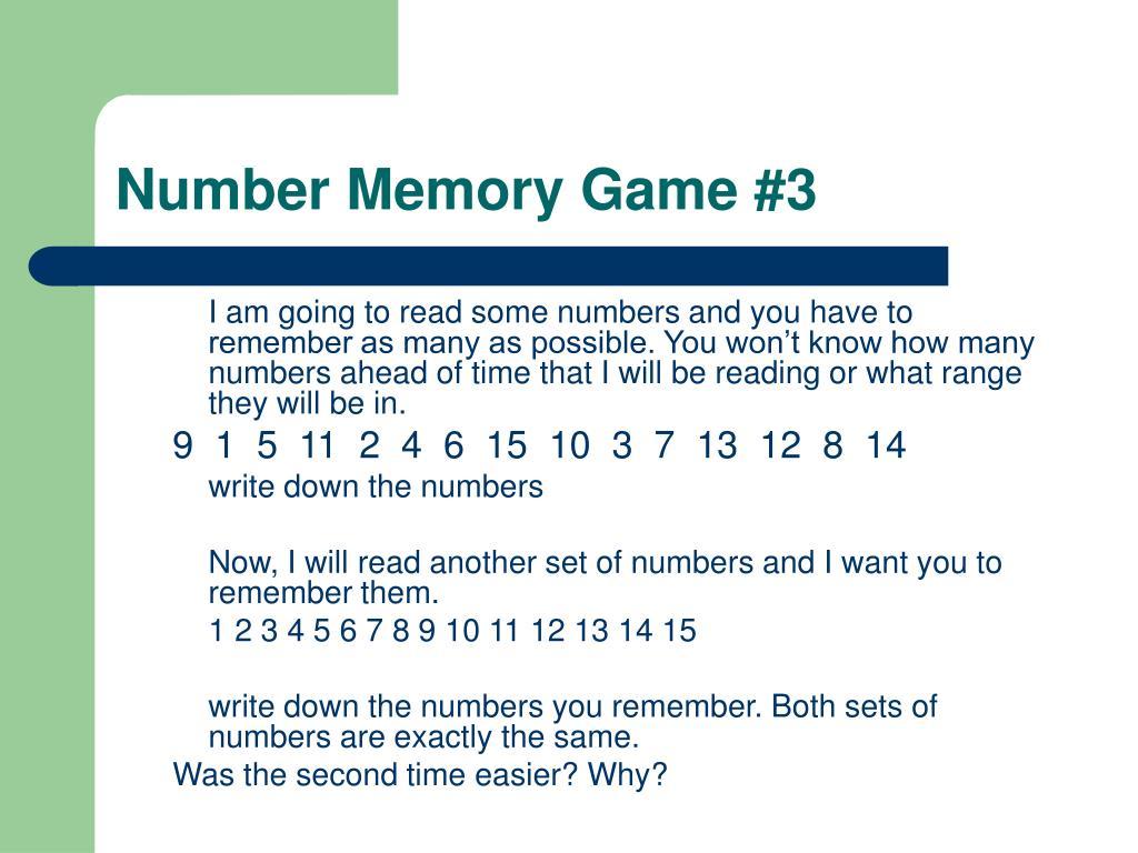 Number Memory Game #3