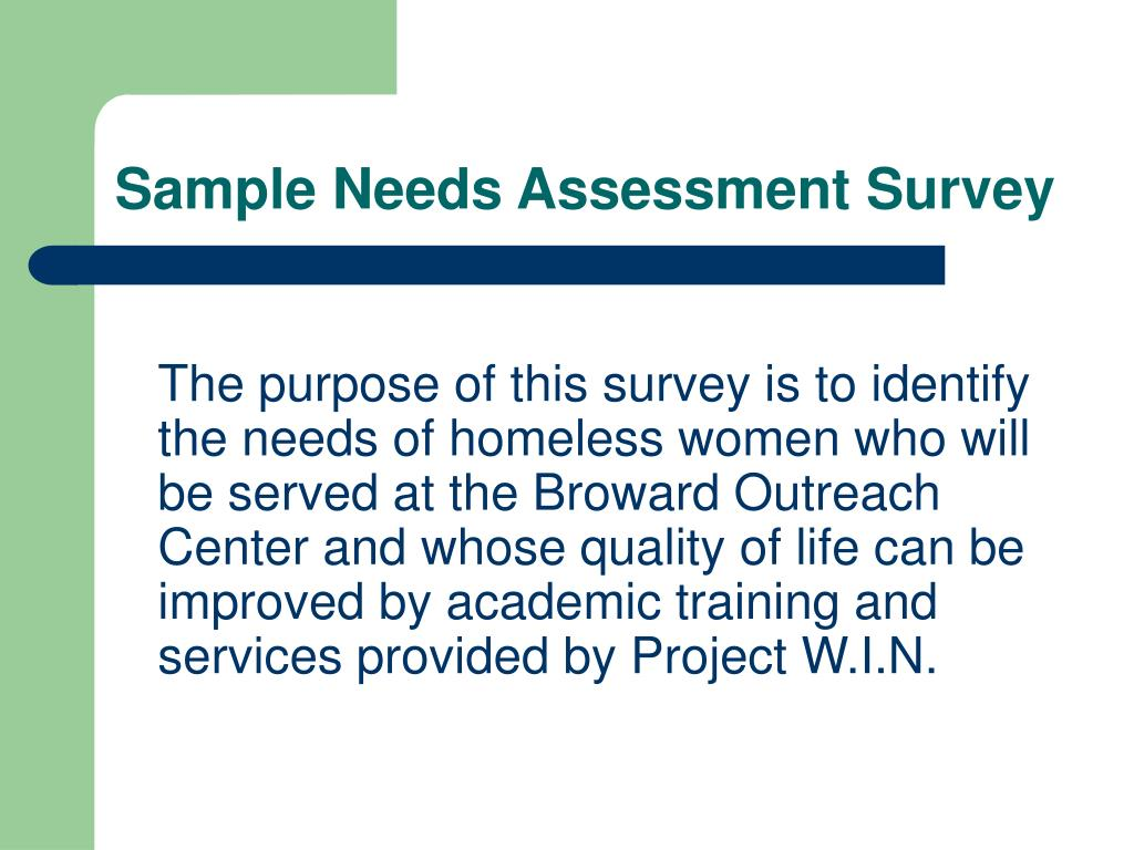 Sample Needs Assessment Survey