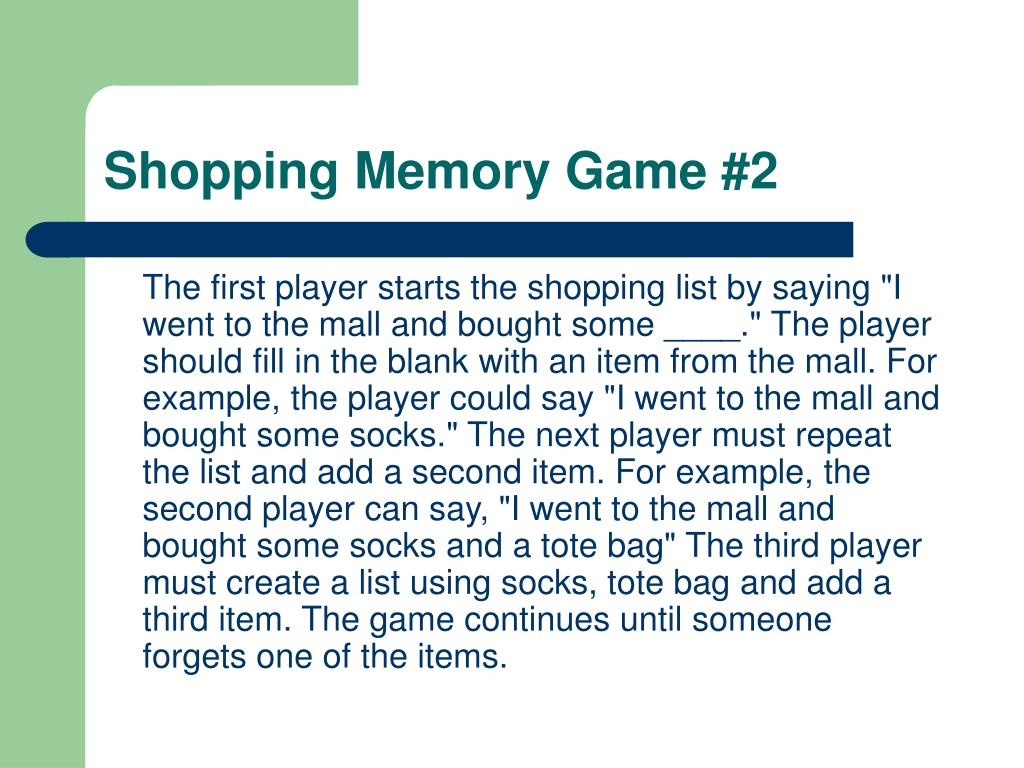 Shopping Memory Game #2