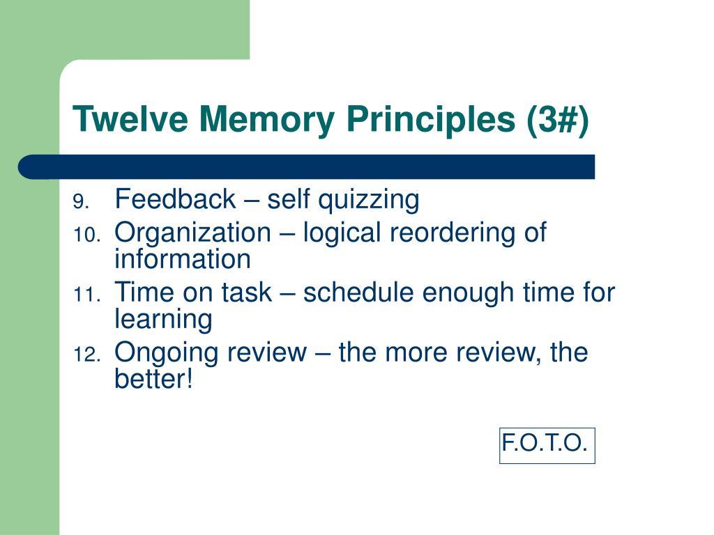 Twelve Memory Principles (3#)