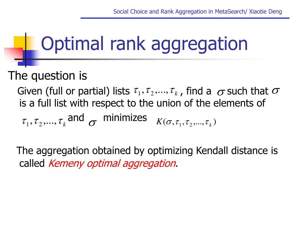 Optimal rank aggregation