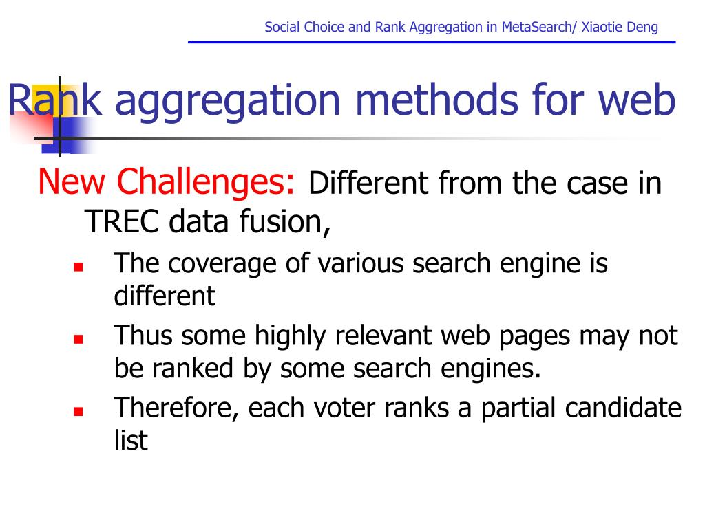Rank aggregation methods for web