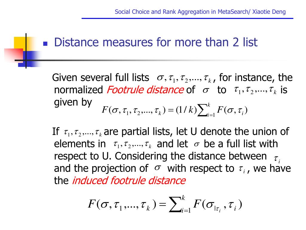 Distance measures for more than 2 list