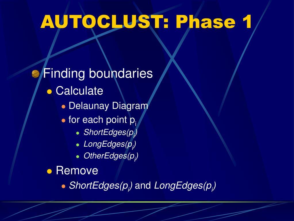 AUTOCLUST: Phase 1