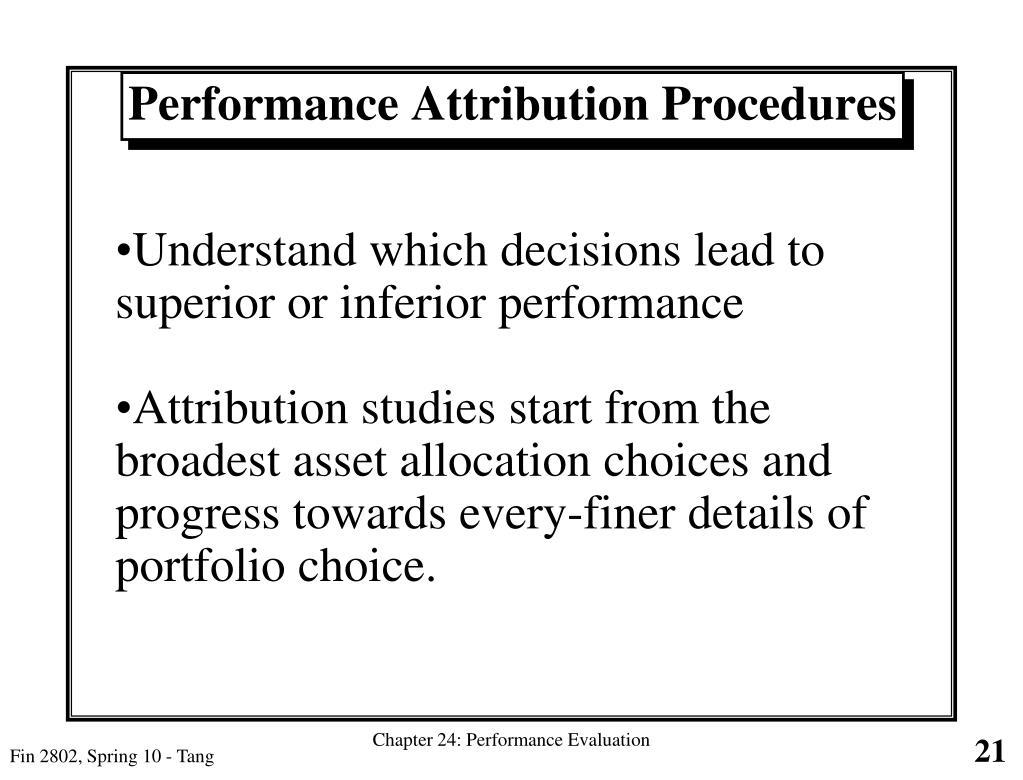 Performance Attribution Procedures