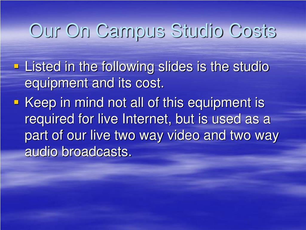 Our On Campus Studio Costs