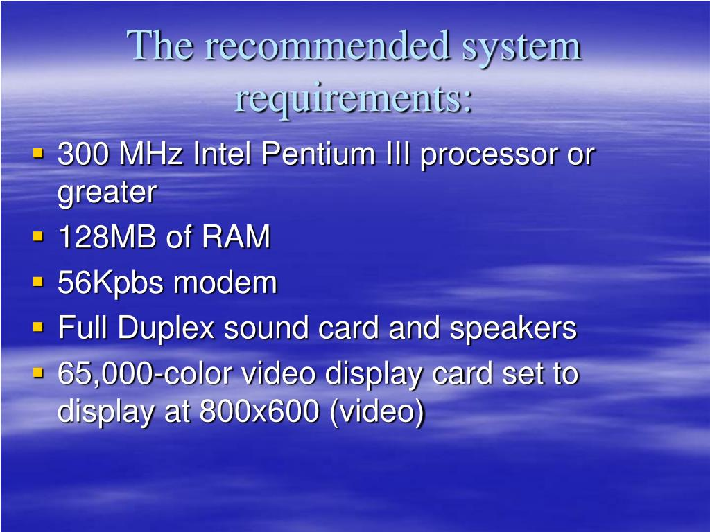 The recommended system
