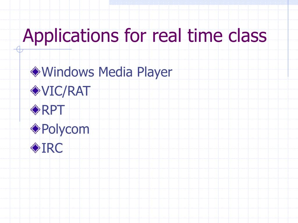 Applications for real time class