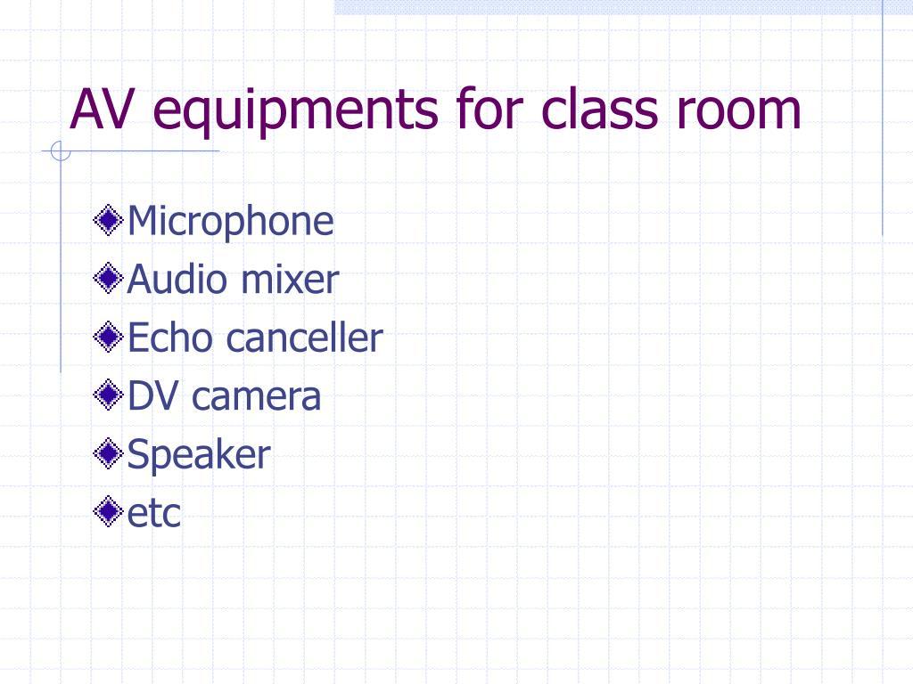 AV equipments for class room