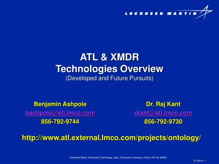 Atl xmdr technologies overview developed and future pursuits