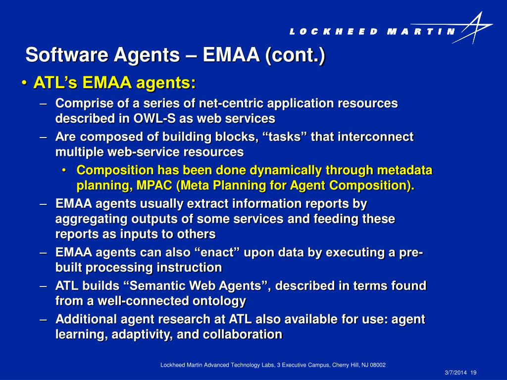 Software Agents – EMAA (cont.)