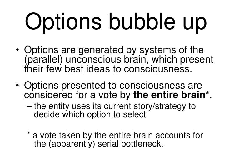 Options bubble up