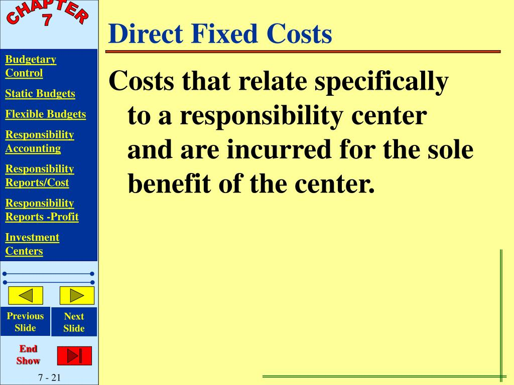 Direct Fixed Costs